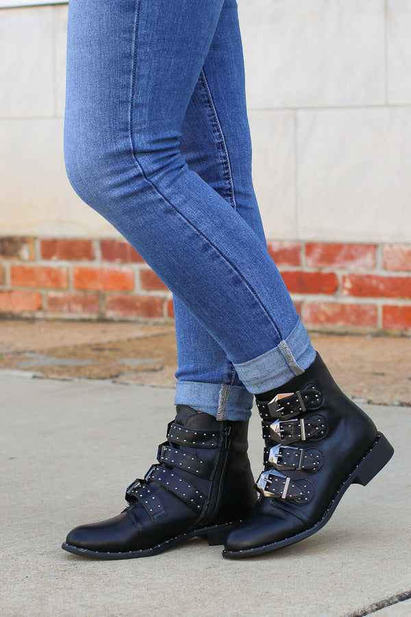 Someone Like You Studded Buckle Booties - FINAL SALE - Madison + Mallory