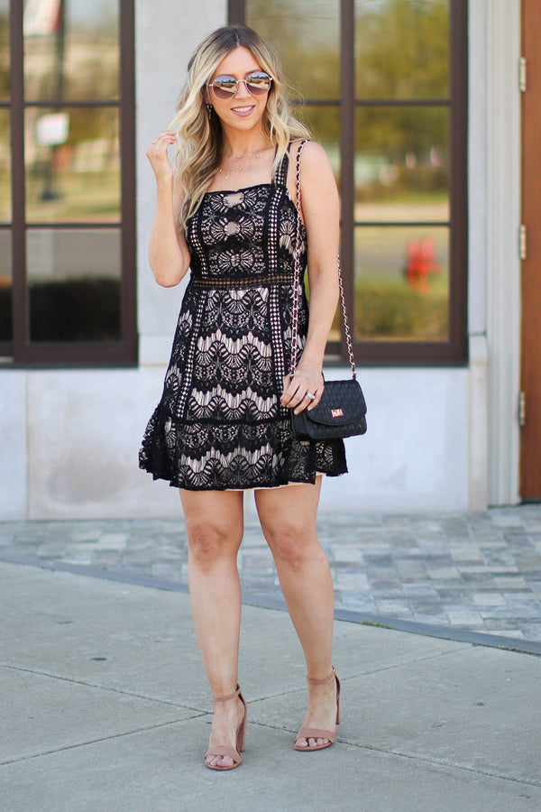 S / Black Venetia Black Lace Dress - FINAL SALE - Madison + Mallory