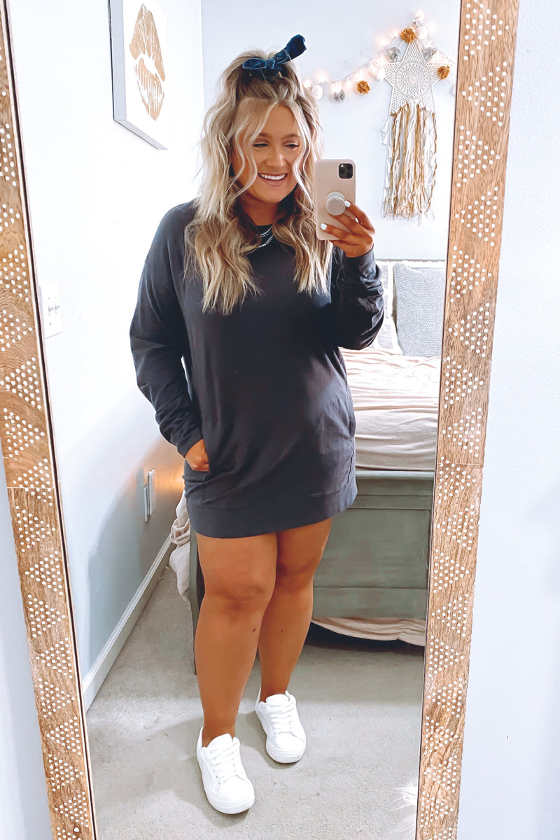Ideal Comfort Relaxed Fit Sweatshirt Dress - Madison and Mallory