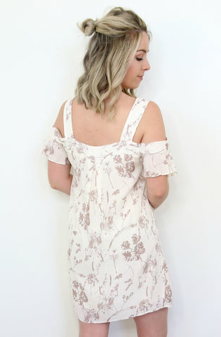 Floral Ruffle Cold Shoulder Dress - Madison + Mallory