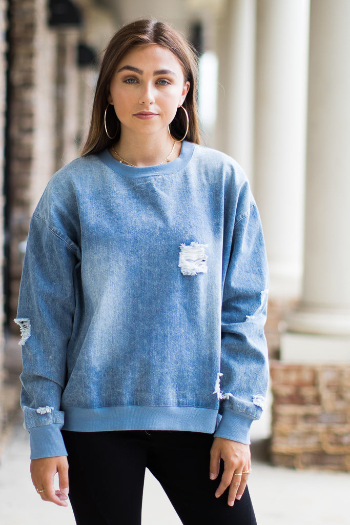 At it Again Distressed Sweatshirt - Madison + Mallory
