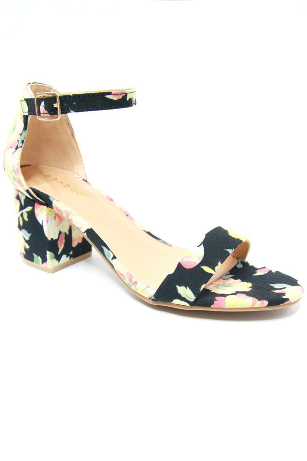 7 / Black Floral Floral Print Block Heel - FINAL SALE - Madison and Mallory