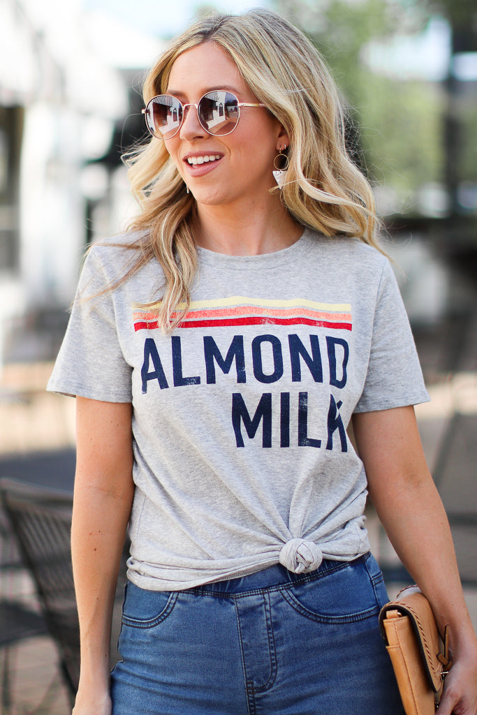 S / Gray Almond Milk Graphic Top - Madison + Mallory