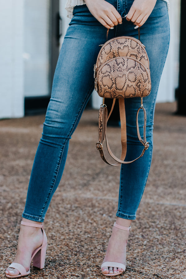 Arvel Faux Snakeskin Backpack - Madison and Mallory