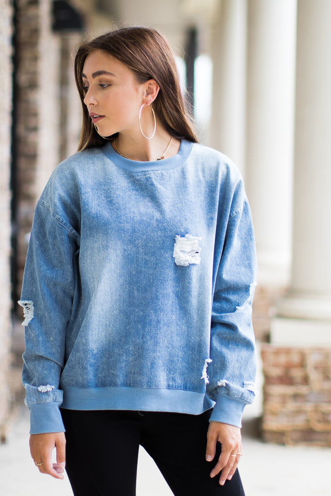 S / Denim At it Again Distressed Sweatshirt - Madison + Mallory