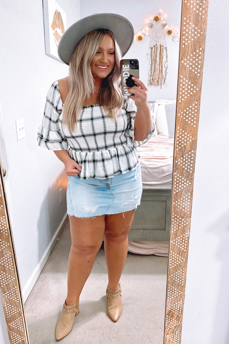 White / S Adalie Plaid Smocked Peplum Top - Madison and Mallory