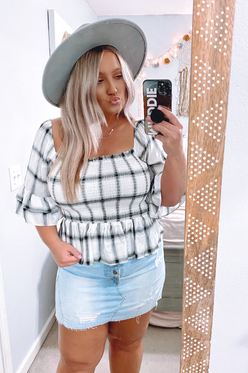 Adalie Plaid Smocked Peplum Top - Madison and Mallory