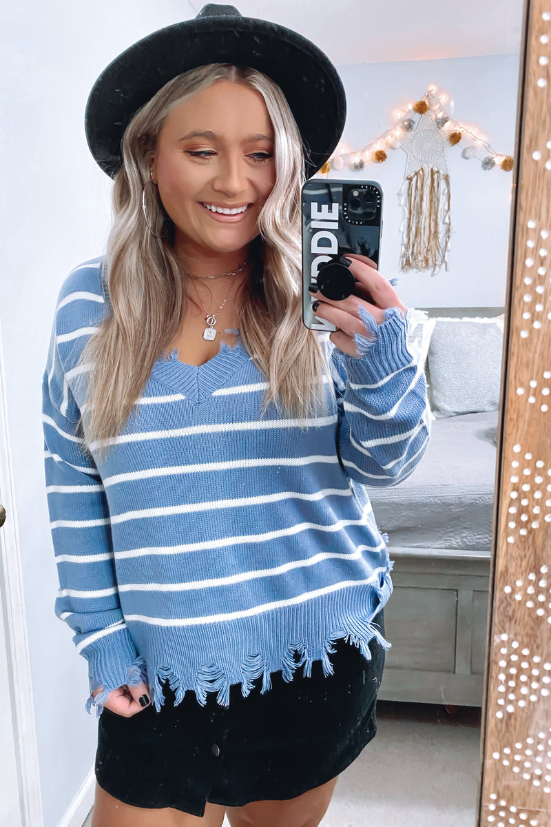 Steel Blue / S Lamora Striped Distressed Sweater - Madison and Mallory