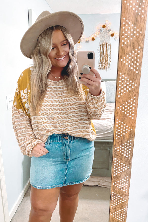 S / Mustard Honey, Honey Stripes and Floral Contrast Top - Madison and Mallory