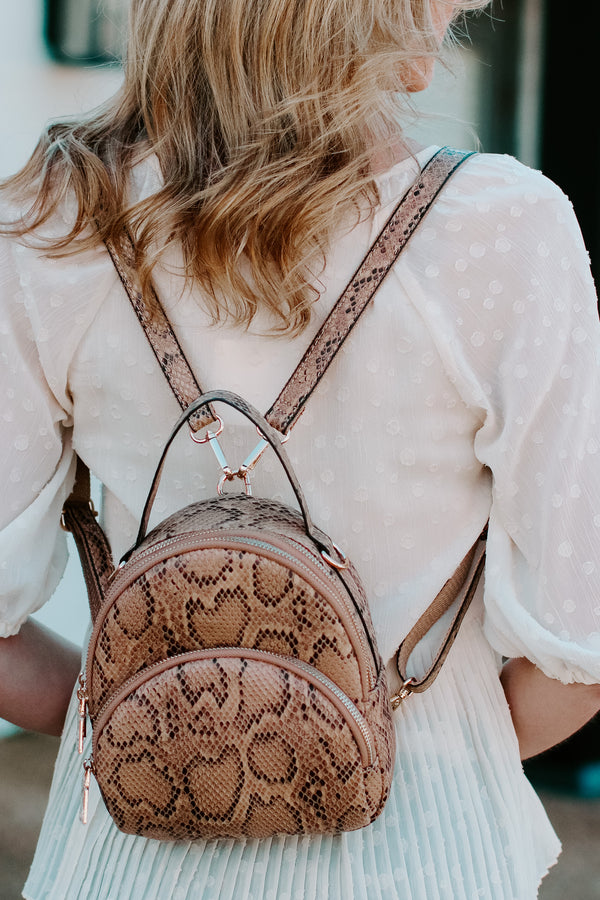 Cream Arvel Faux Snakeskin Backpack - Madison + Mallory