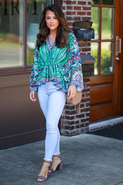 S / Green Revitalizing Floral Top - Madison + Mallory