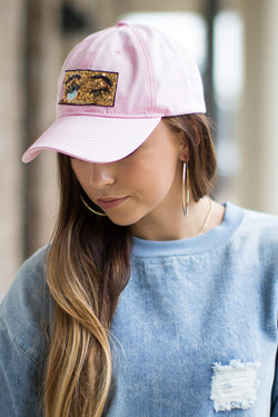 Pink Sequin Wink Patch Hat - Madison and Mallory