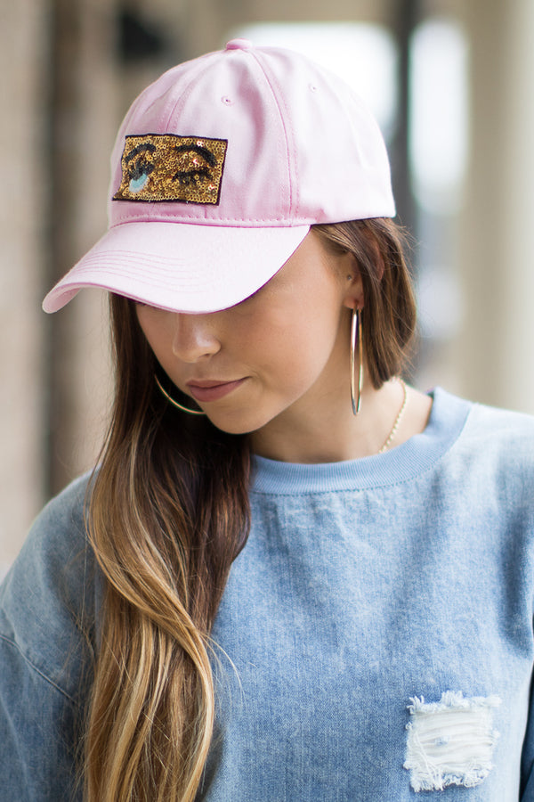 OS / Pink Sequin Wink Patch Hat - Madison + Mallory