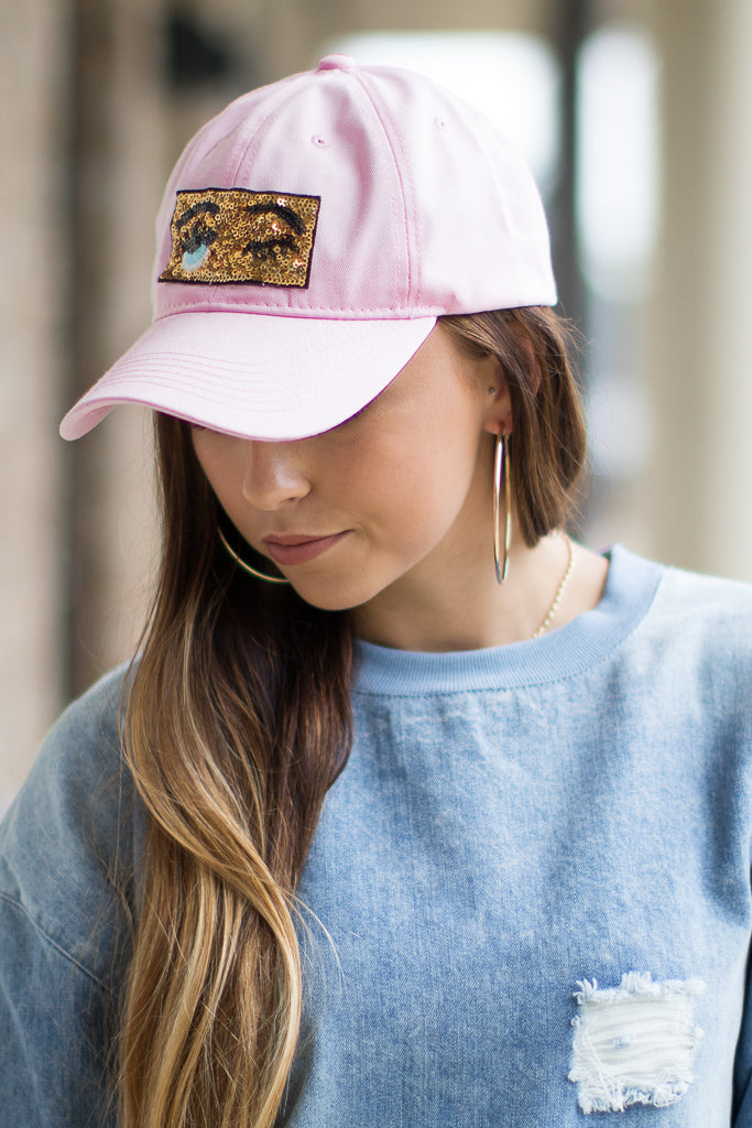 Pink Sequin Wink Patch Hat - Madison + Mallory