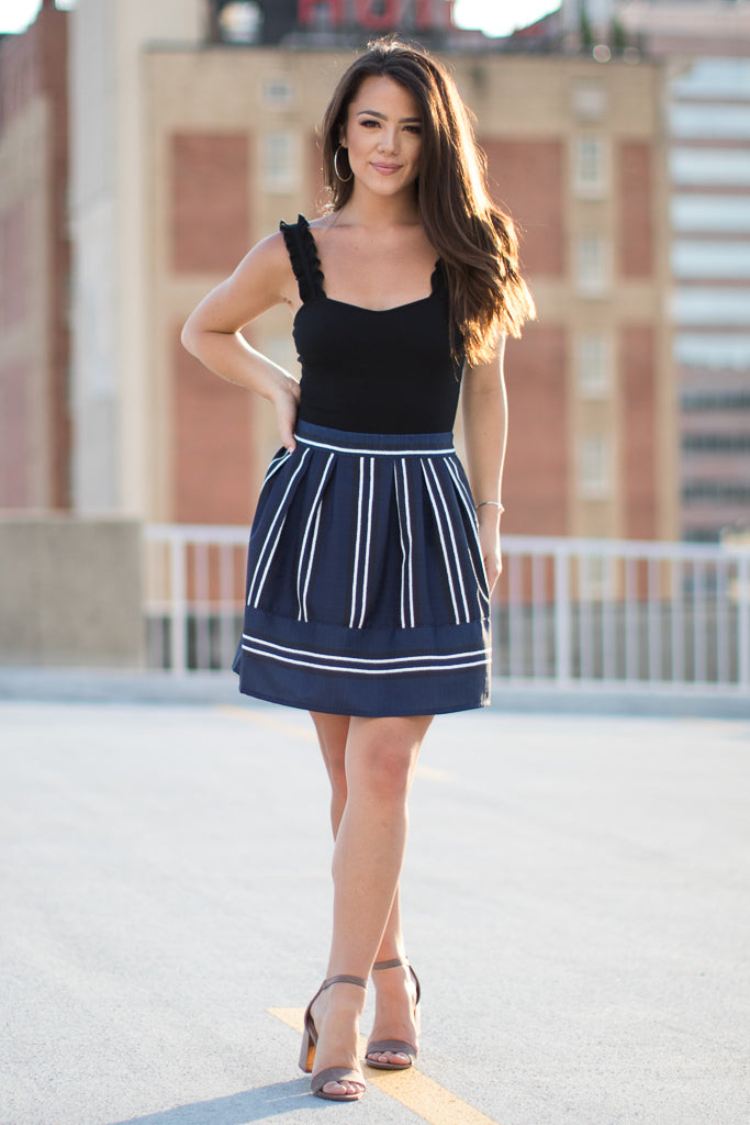 S / Navy Striped Skirt - Madison + Mallory