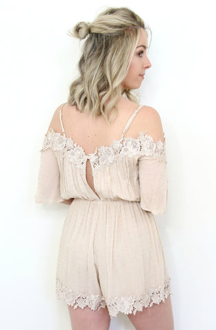 Off the Shoulder Swiss Dot Lace Romper