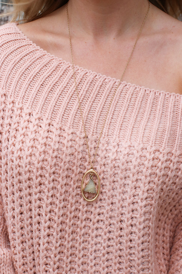One Size / Beige Druzy Pendant Necklace + MORE COLORS - Madison + Mallory