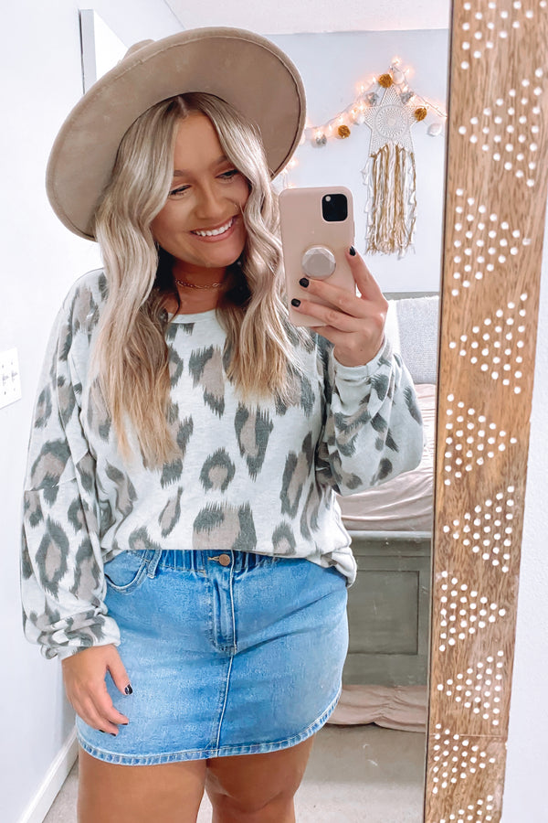 S / Oatmeal Wild Eyed Animal Print Top - Madison and Mallory