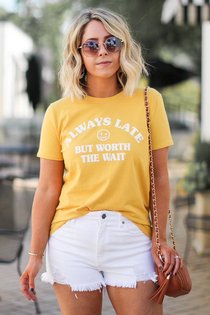 S / Mustard Always Late but Worth the Wait Graphic Top - Madison + Mallory