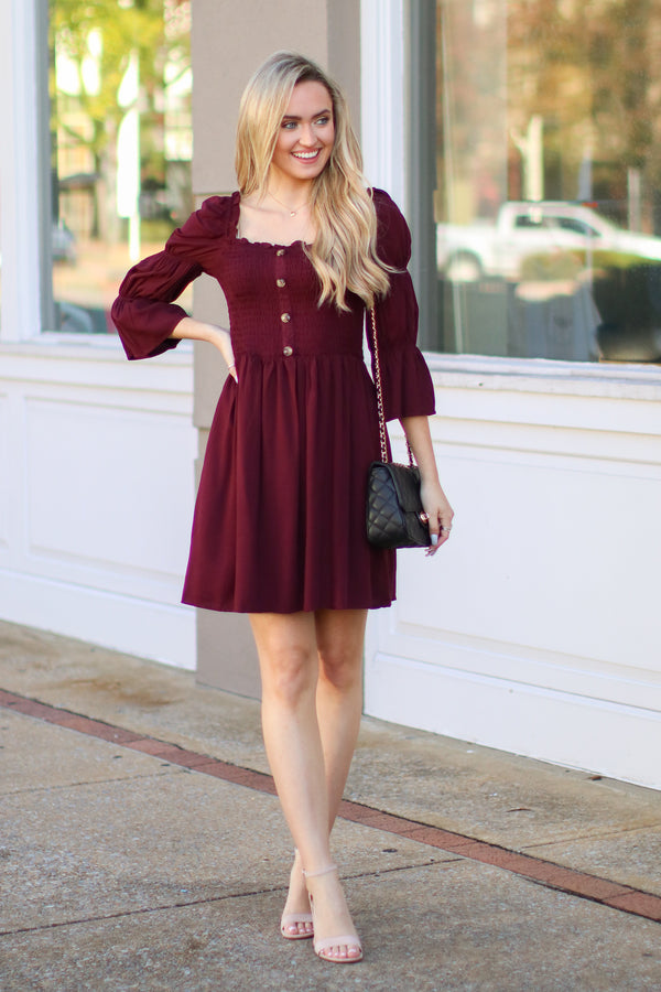 Catching Stares Smocked Button Dress - Madison + Mallory