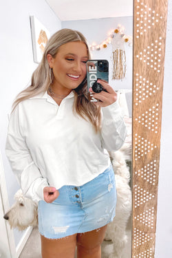 S / White Leeway Cropped Polo Top - Madison and Mallory