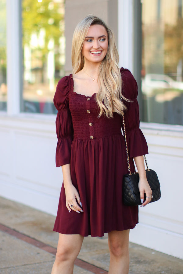 S / Burgundy Catching Stares Smocked Button Dress - Madison + Mallory