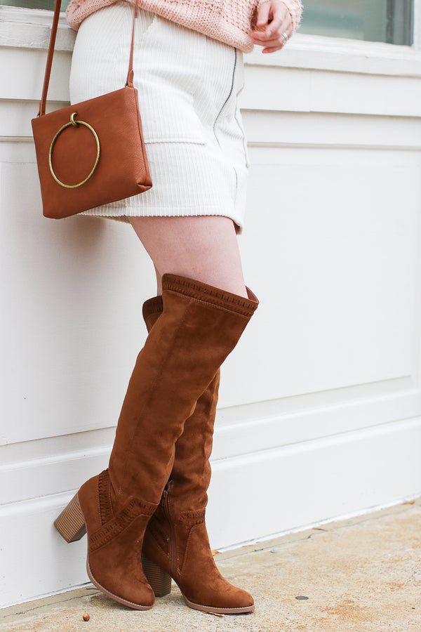 5.5 / Chestnut Boho Feelings Suede Heeled Boots - FINAL SALE - Madison + Mallory