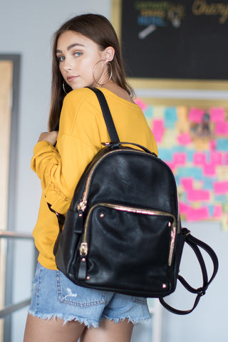Black Faux Leather Studded Zip Backpack - Madison + Mallory