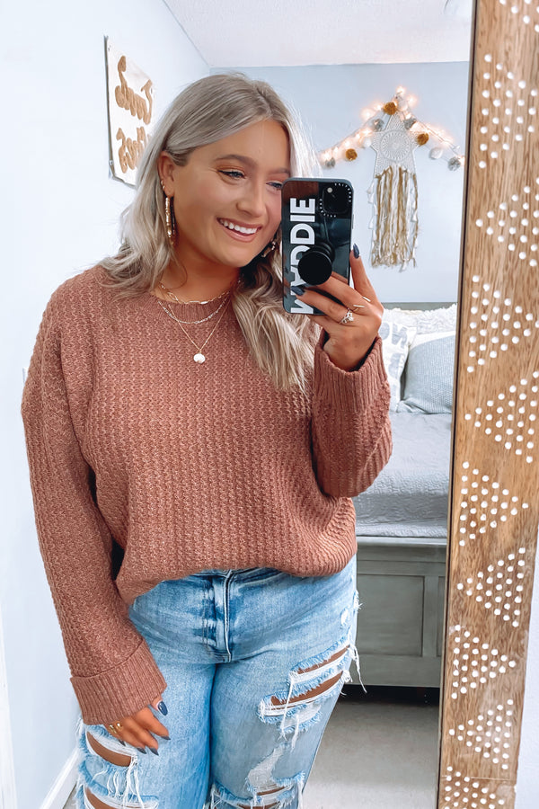 Rust / S Varner Long Sleeve Knit Sweater - Madison and Mallory