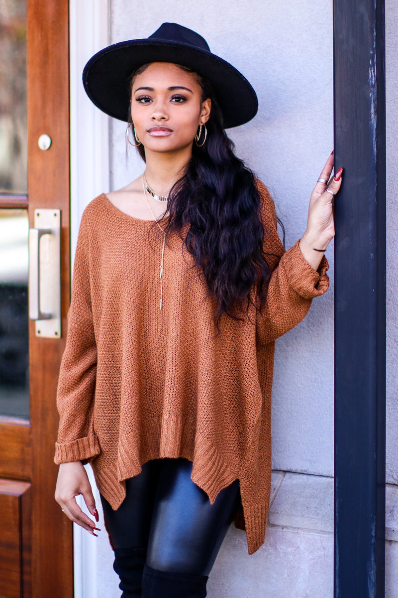 Butterscotch / SM Cuddle Weather Relaxed Fit Long Sleeve Sweater - Madison and Mallory