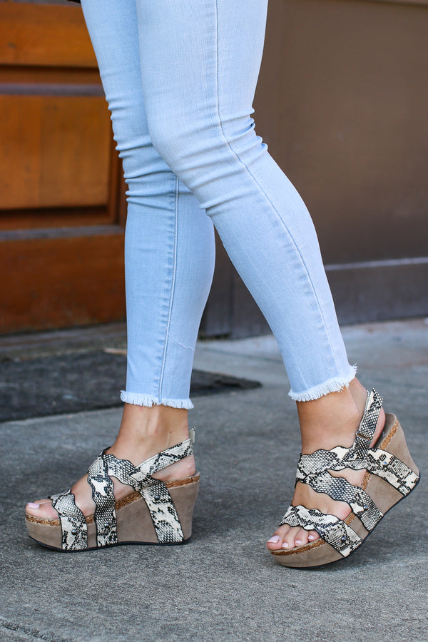 Taya Snake Strappy Wedges - FINAL SALE - Madison + Mallory