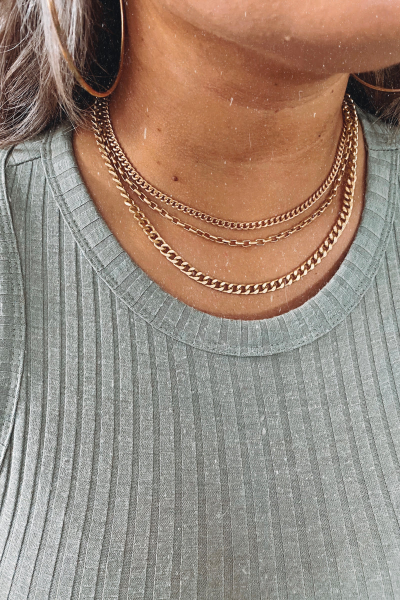 Gold Real Connection Layered Chain Necklace - Madison and Mallory