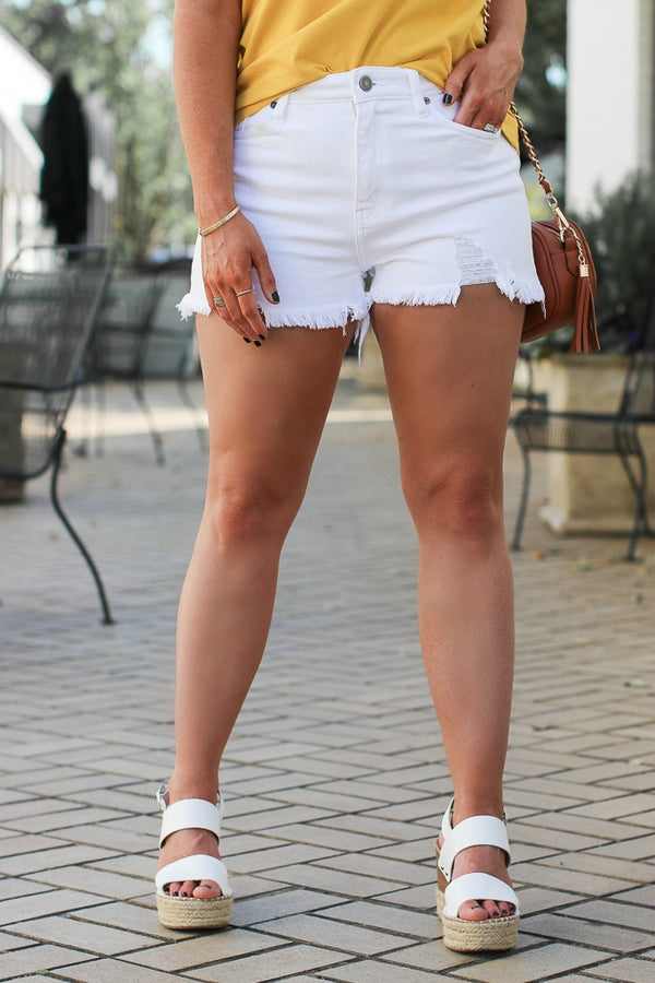 S / White Scout Distressed High Rise Shorts - FINAL SALE - Madison + Mallory