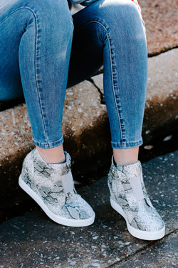 5.5 / Snake Hiss on the Lips Snake Wedge Sneaker - Madison and Mallory