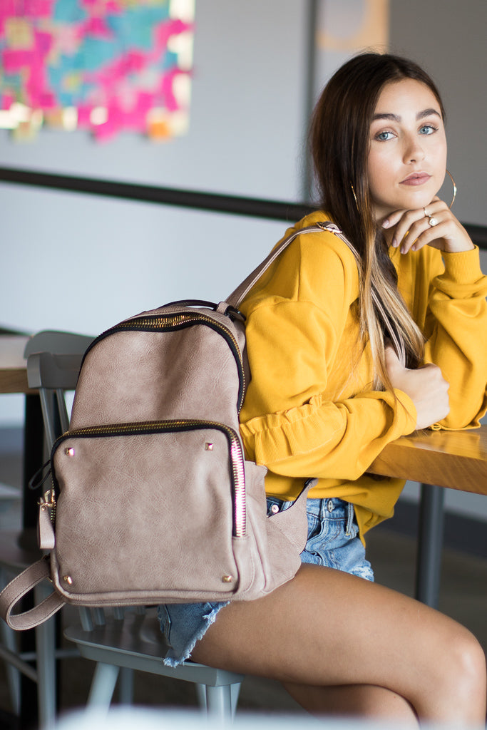 Taupe Faux Leather Studded Zip Backpack - Madison + Mallory