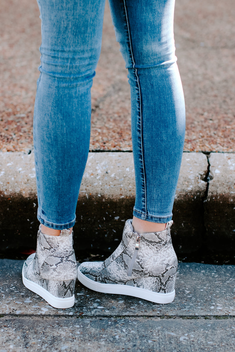 Hiss on the Lips Snake Wedge Sneaker - Madison and Mallory