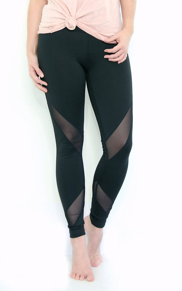S / Black Mesh Detail Accent Leggings + MORE COLORS - Madison + Mallory