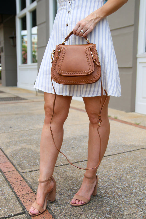 Colby Whipstitch Crossbody Bag - Tan - Madison + Mallory