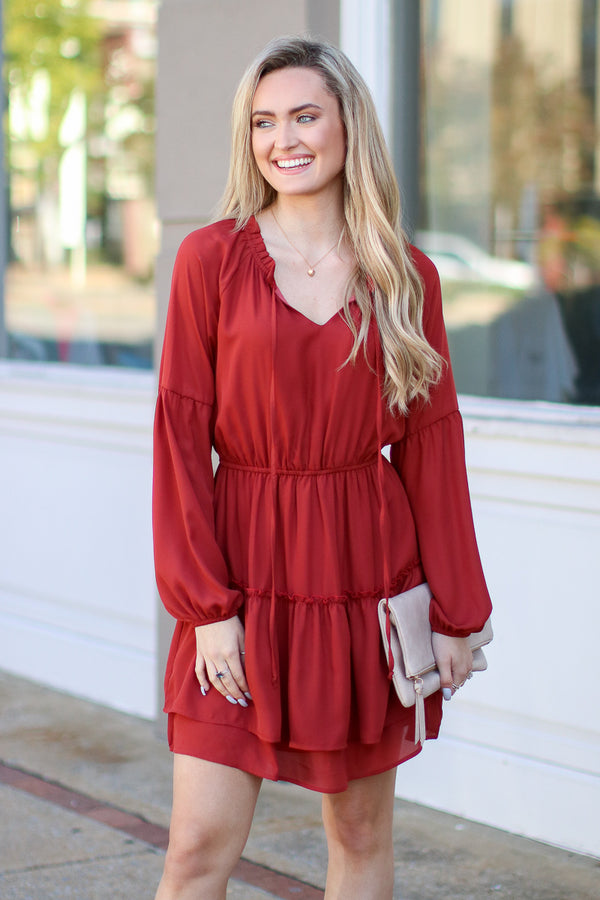 S / Rust Dance Together Tiered Ruffle Dress - Madison + Mallory