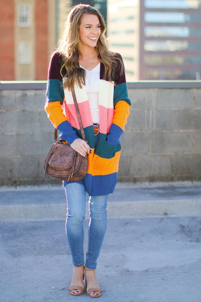 S / Crayon Bradley Color Block Cardigan - Madison + Mallory