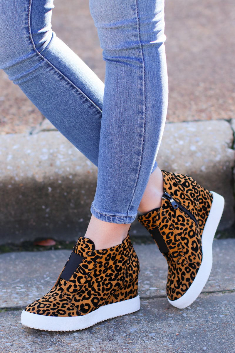 Rodina Wedge Sneaker - Leopard - Madison and Mallory