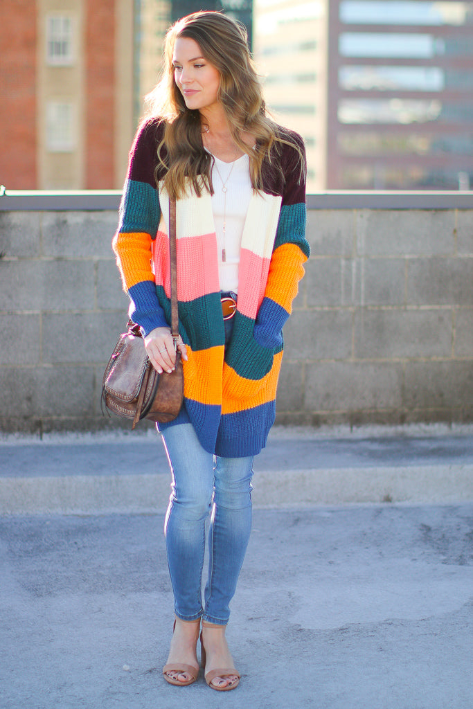 Bradley Color Block Cardigan - Madison + Mallory