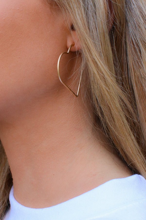 Gold Loveseat Heart Hoop Earrings - Madison and Mallory