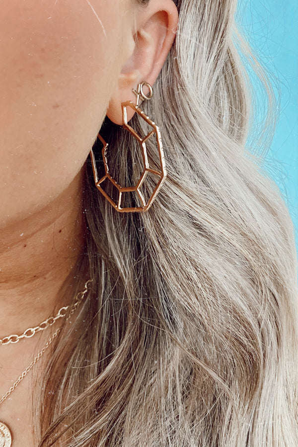 Gold Aesthetically Inclined Geometric Hoops - Madison and Mallory