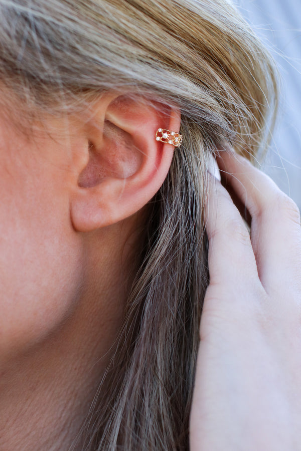 Gold Shine All Night Crystal Filigree Ear Cuff - Madison and Mallory