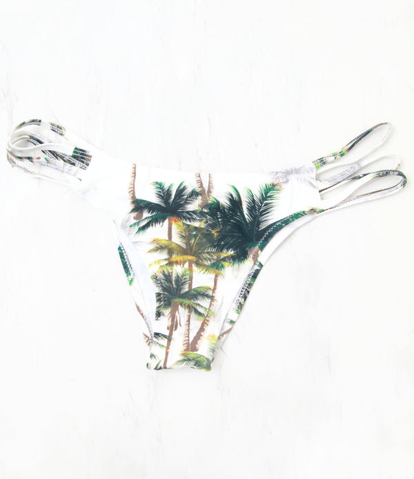 S / Tropical Palm Strappy Bikini Bottom - Madison + Mallory
