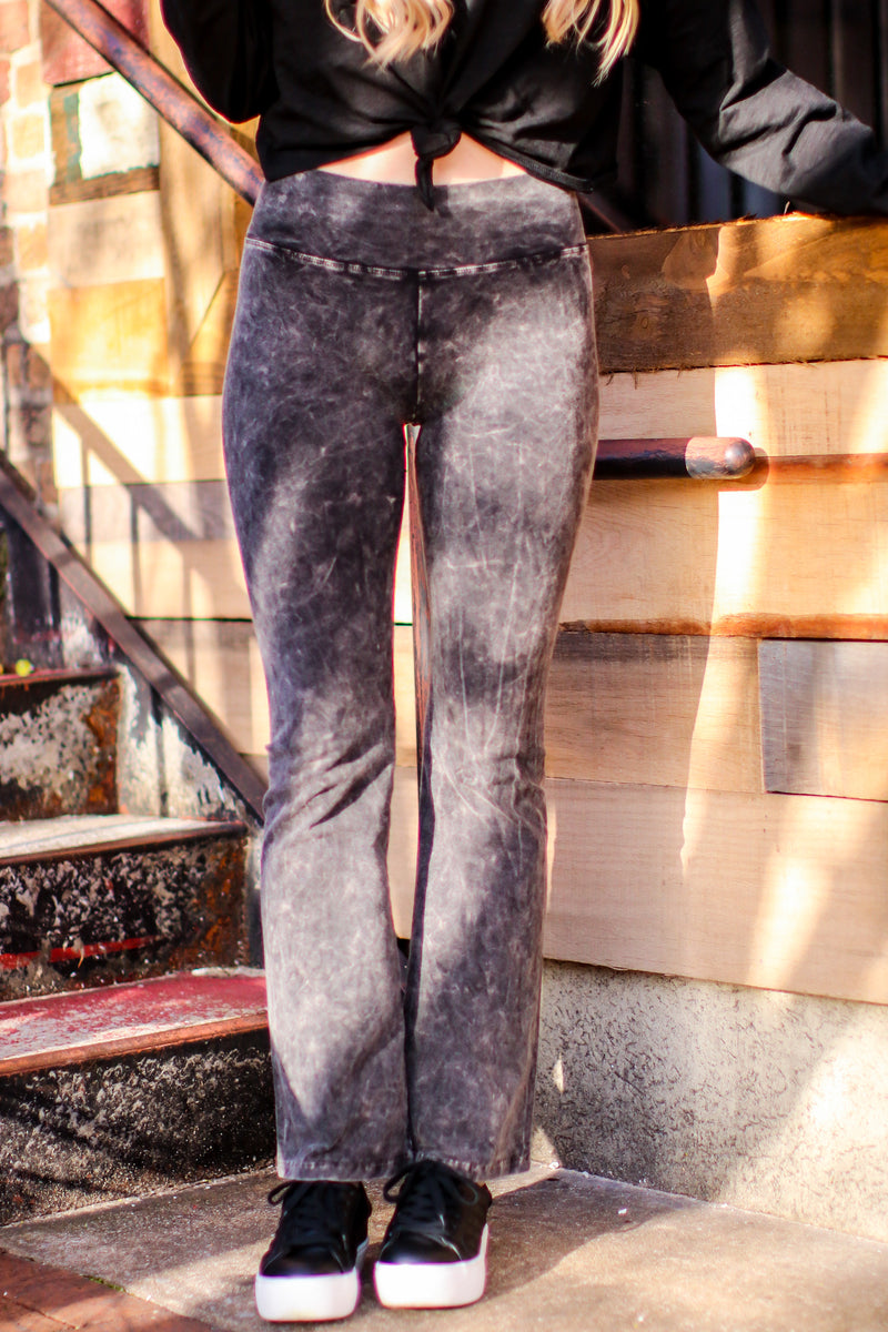 S / Black Brock Mineral Wash High Rise Flared Leggings - Madison and Mallory