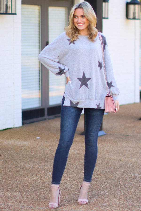 Star Power Print Hacci Top - Madison + Mallory