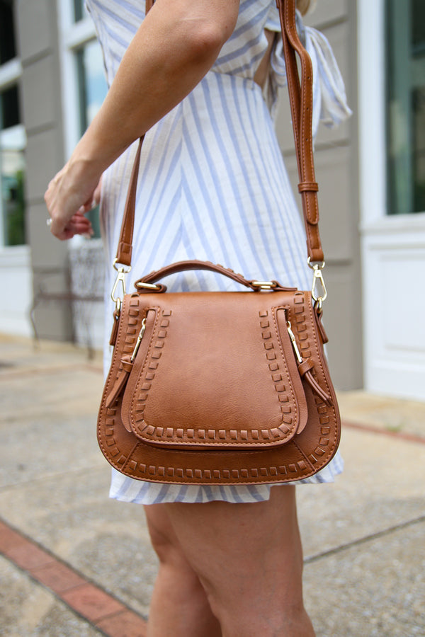 Tan Colby Whipstitch Crossbody Bag - Tan - Madison + Mallory