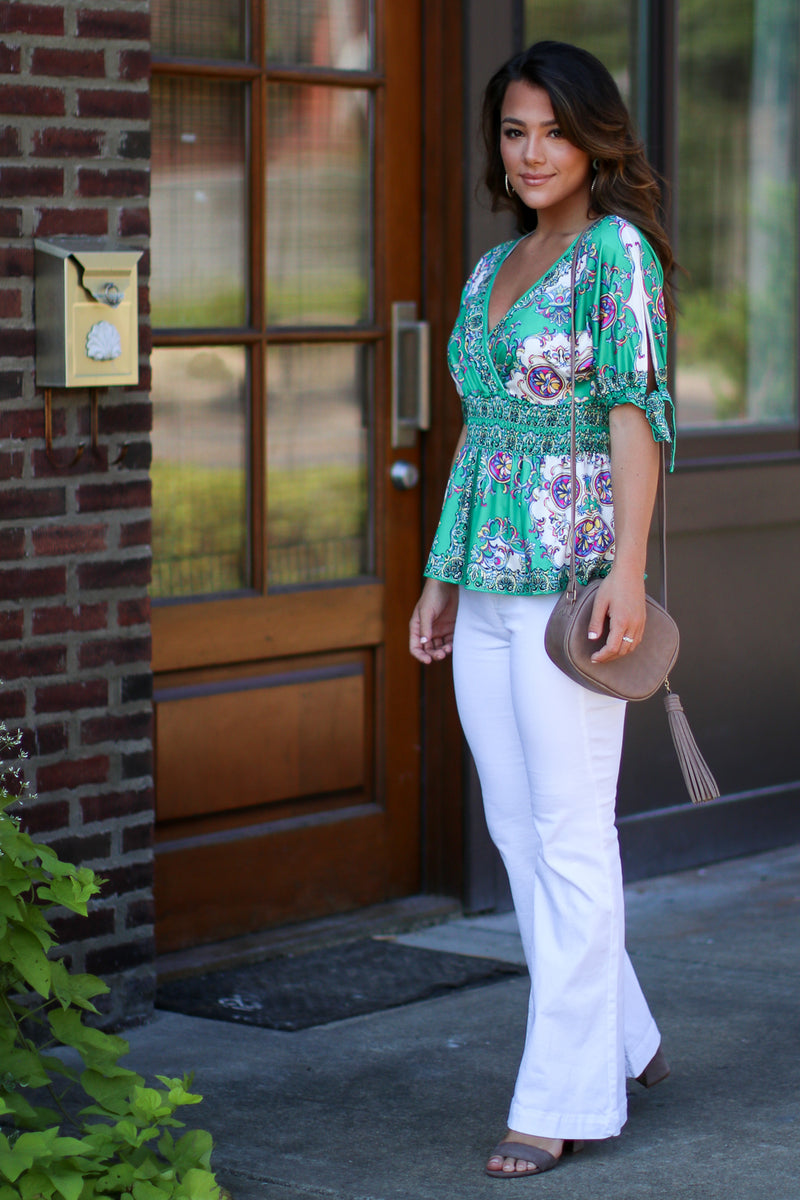 Tallinn V-Neck Print Top - FINAL SALE - Madison + Mallory